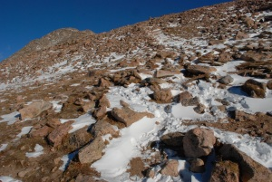 Not much beyond rocks and snow close to the summit, 14,000ft